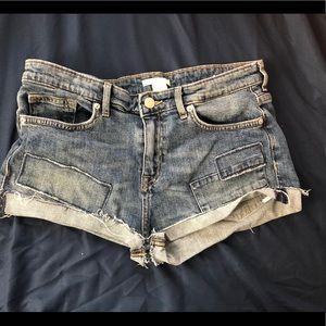 H&M Dark Blue Patch Shorts